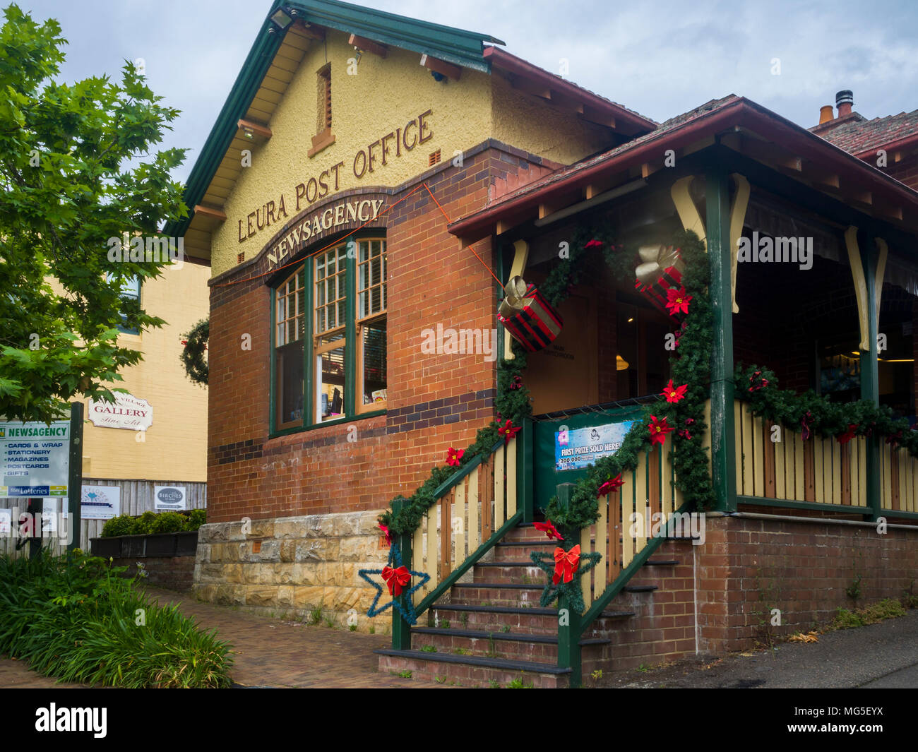Leura Post Office and Newsagency, Leura Village, Blue Mountains, New South Wales, Australia - Stock Image