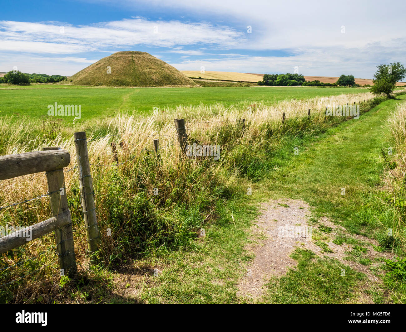 A sunny summer's day at Silbury Hill in Wiltshire. Stock Photo