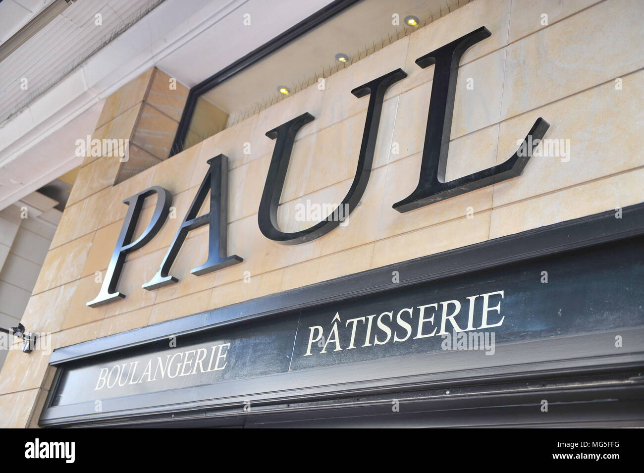ATHENS, GREECE - FEBRUARY 19: Facade of Paul bakery cafe in Athens on February 19, 2018. Paul is a French chain of bakery cafes. - Stock Image