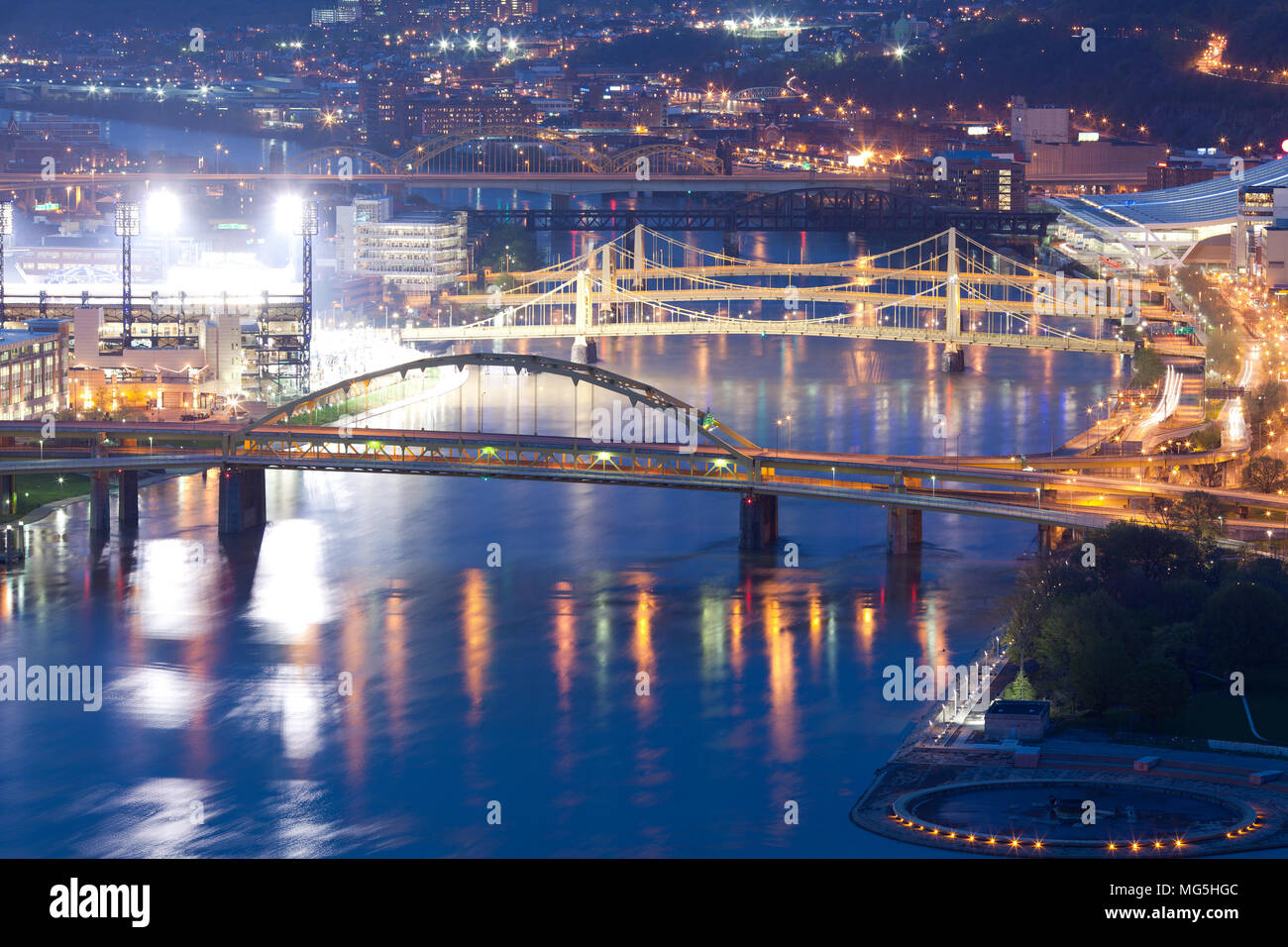 Bridges over the Allegheny River, Pittsburgh, Pennsylvania, USA - Stock Image
