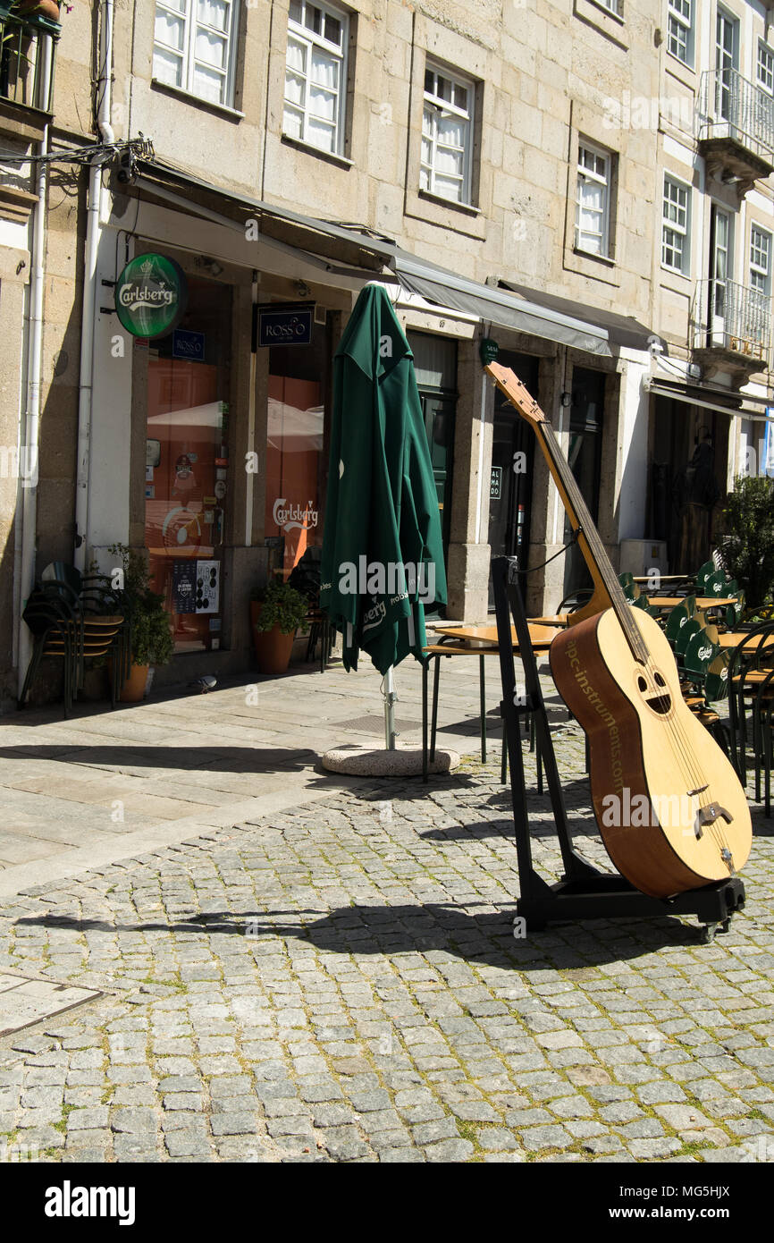 Guitar and  intruments store in Braga Portugal - Stock Image