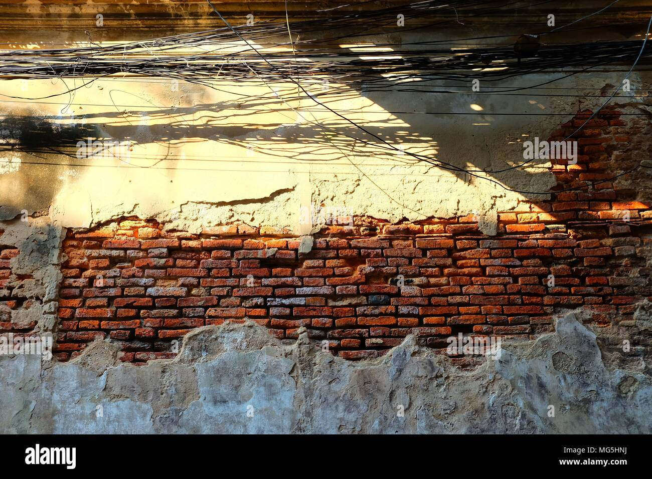 Wiring In Brick Wall Electrical Mess Stock Photos Messy Wires With Broken Old Image