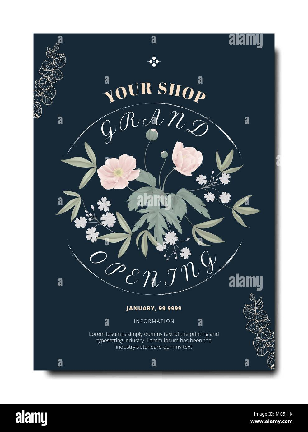 Botanical grand opening invitation card template design pink botanical grand opening invitation card template design pink anemone flowers with leaves on dark blue background vintage style stopboris Gallery