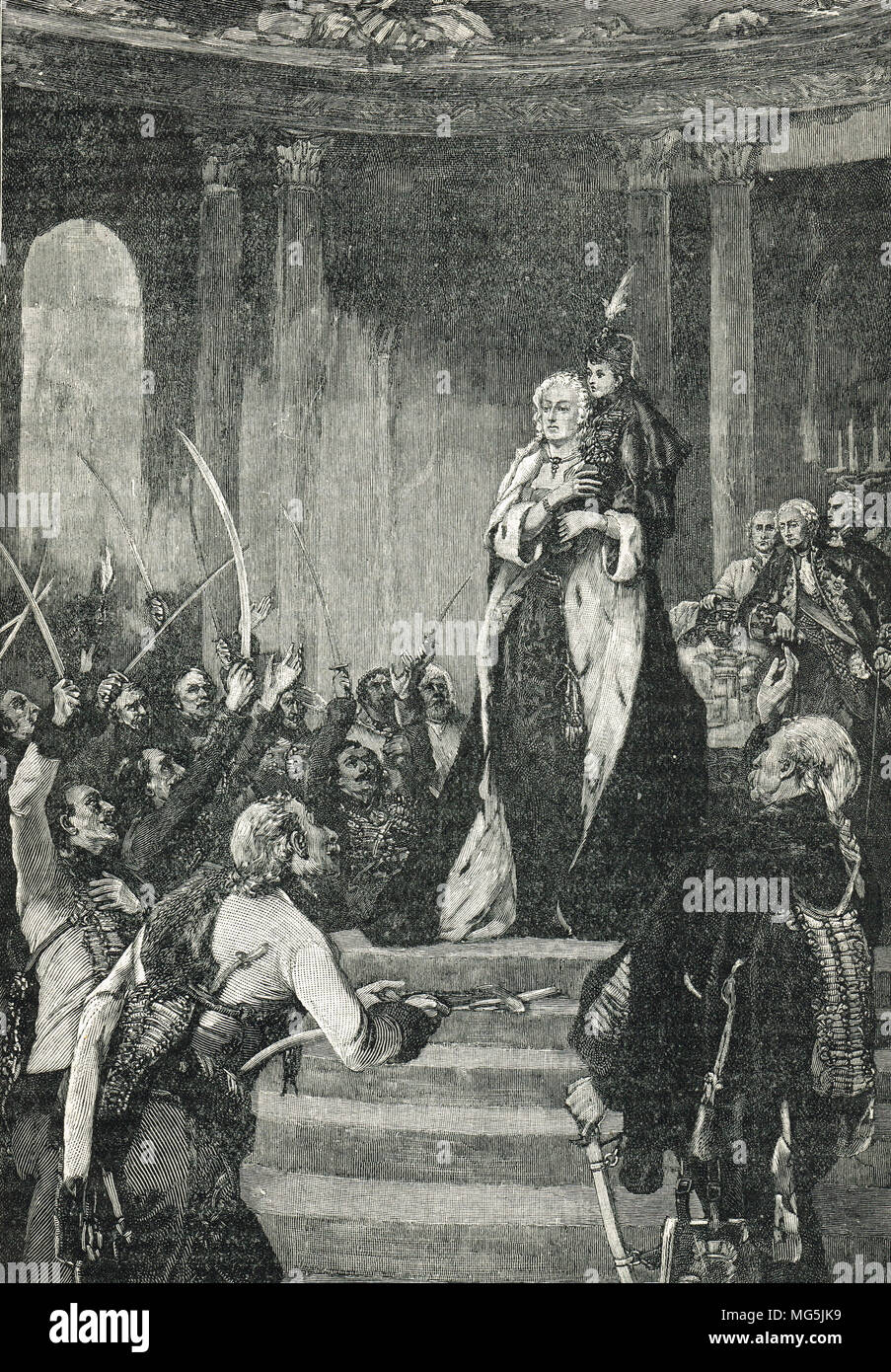 Maria Theresa and the Hungarian Parliament, triumphantly holding her son Joseph, before the diet of Hungary, Pressburg, September 1741 - Stock Image