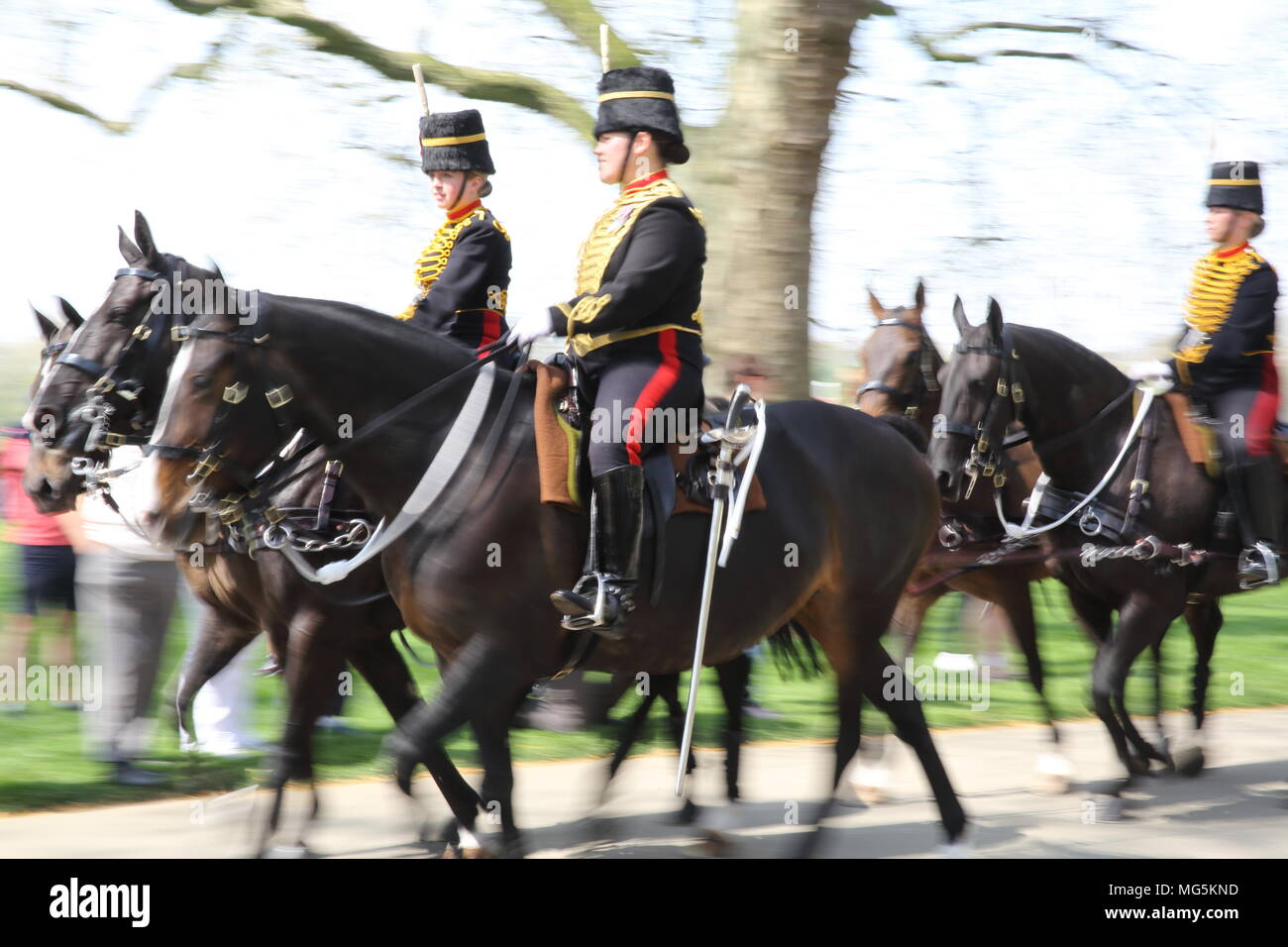 The Household Cavalry, celebrating the Queen's 92nd birthday in Hyde Park, London, UK Stock Photo