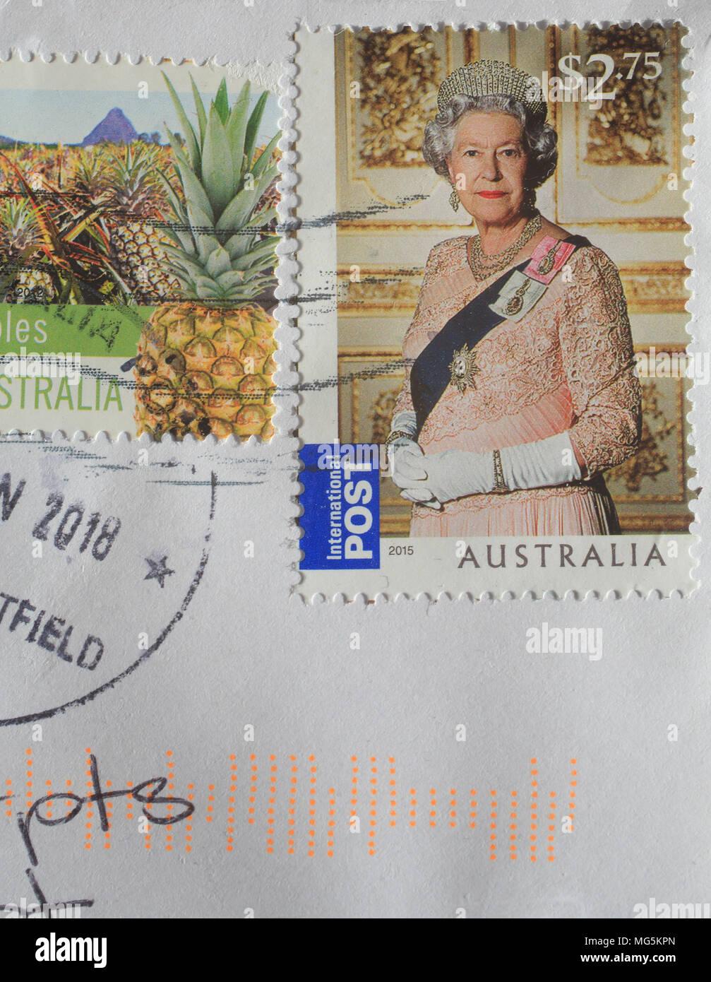 Queen Elizabeth II on Australian stamps, for international post. - Stock Image