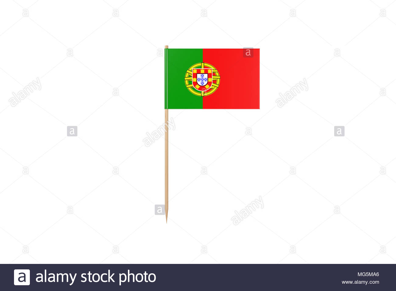 Toothpick Flag On White - Stock Image