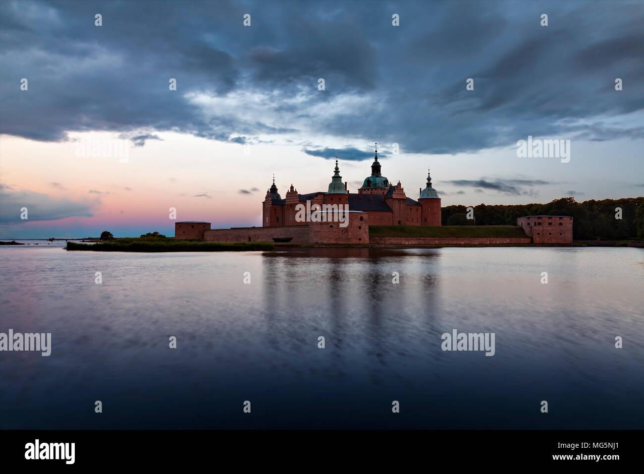 The historical waterfront citadel at sunrise. Kalmar, Sweden. - Stock Image