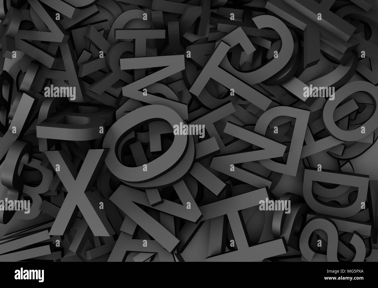 3d illustration horizontal closeup of black letters background texture - Stock Image