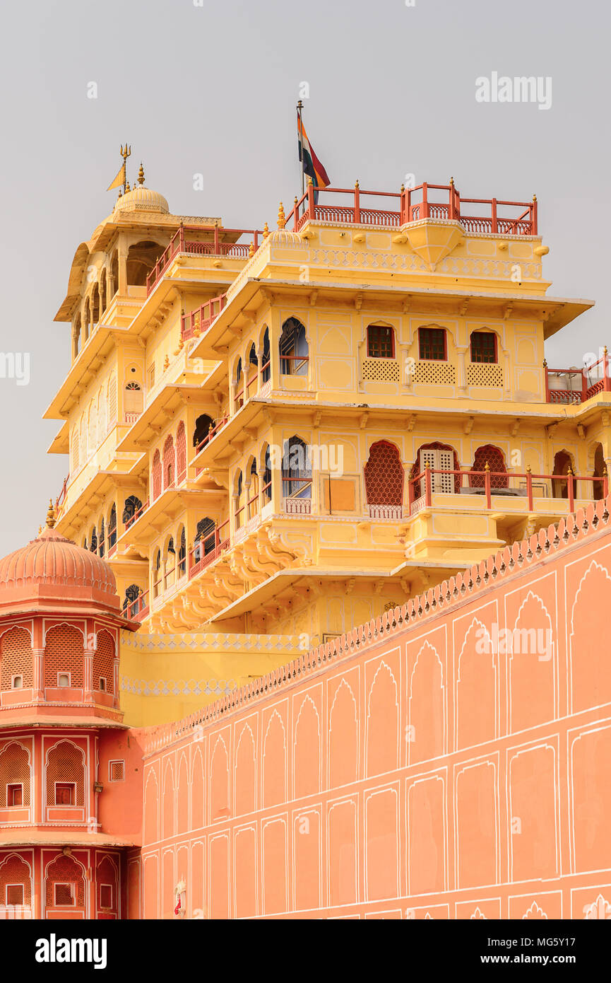Chandra Maha at the City Palace, a palace complex in Jaipur, Rajasthan, India. It was the seat of the Maharaja of Jaipur, the head of the Kachwaha Raj - Stock Image