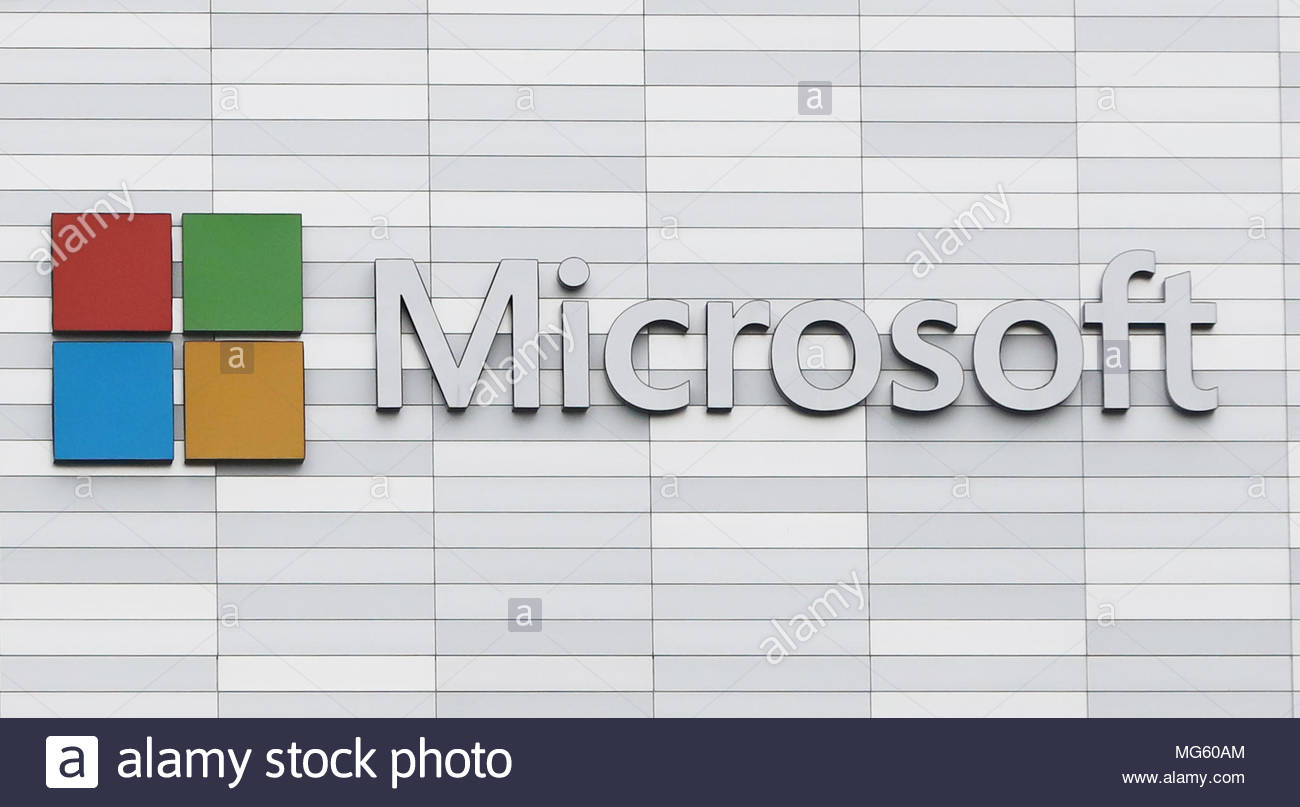 File photo dated 19/02/18 of a Microsoft sign. The technology giant has said it has fixed an error which saw legitimate mails diverted to spam and junk folders for users around the world. - Stock Image