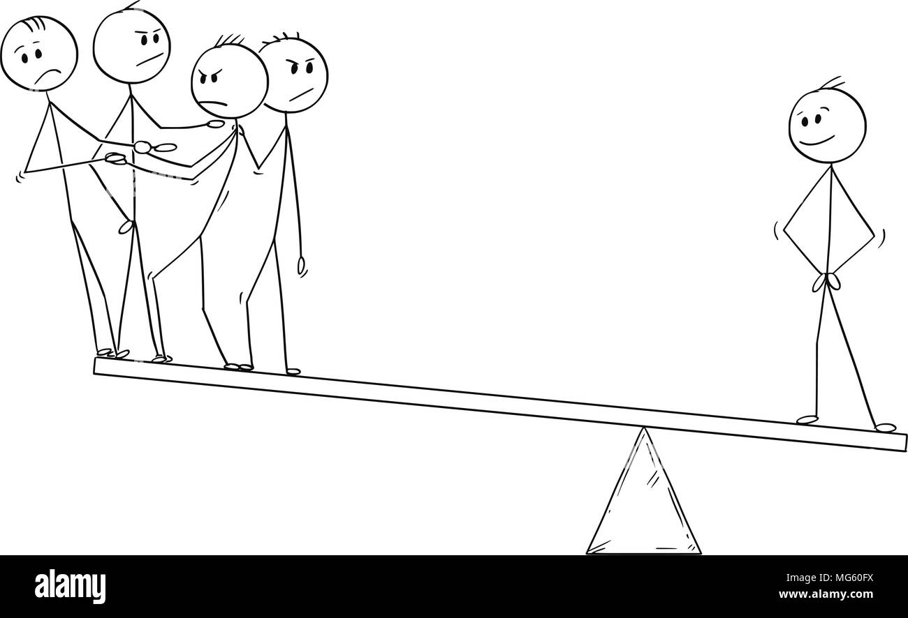 Cartoon of Business Team and individuality Balance - Stock Image