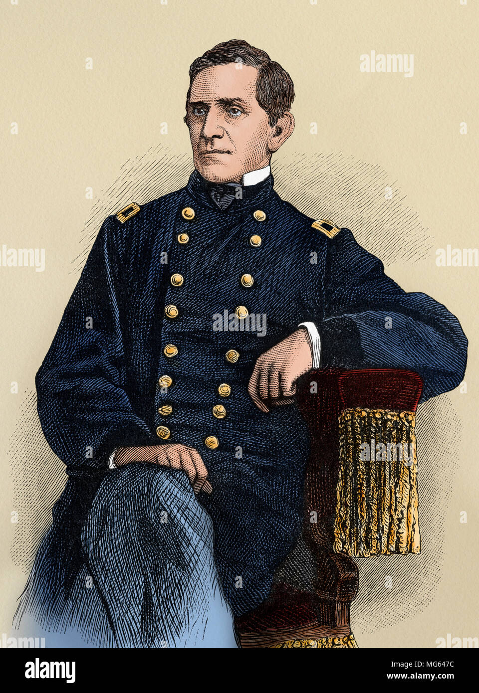 Union Army Major-General Edward Sprigg Canby. Digitally colored woodcut - Stock Image