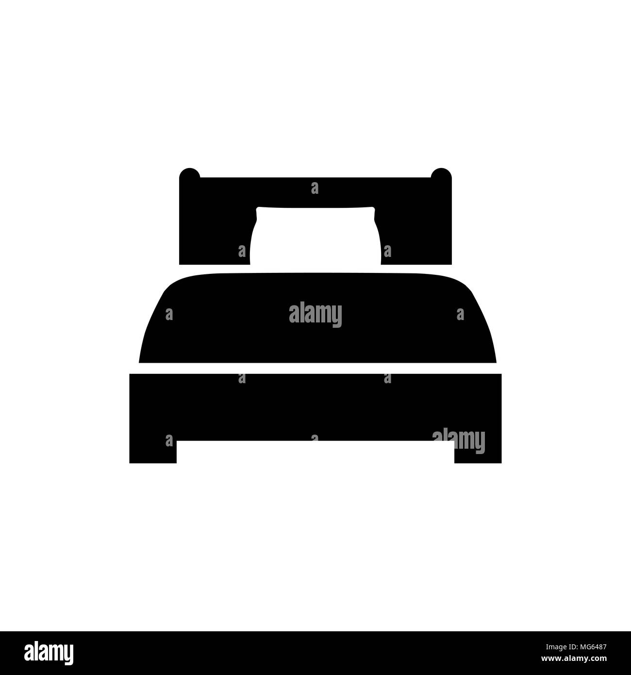 Bed Icon In Flat Style Hotel Symbol Isolated On White Background