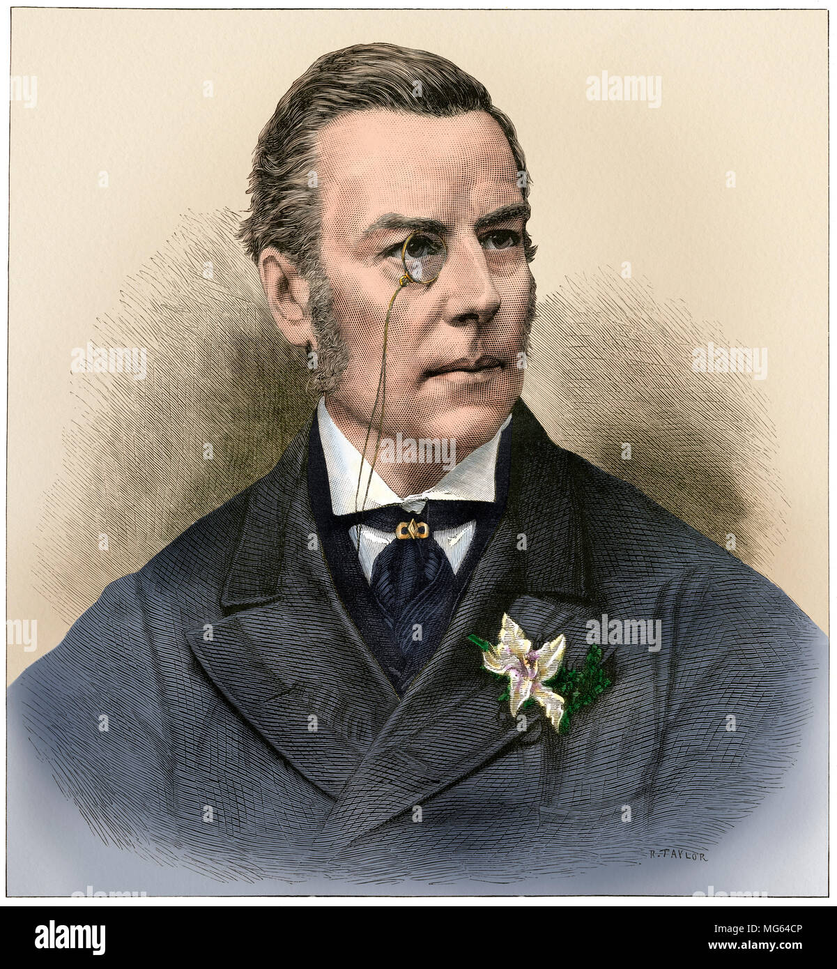 Joseph Chamberlain, British statesman, 1880s. Digitally colored woodcut - Stock Image