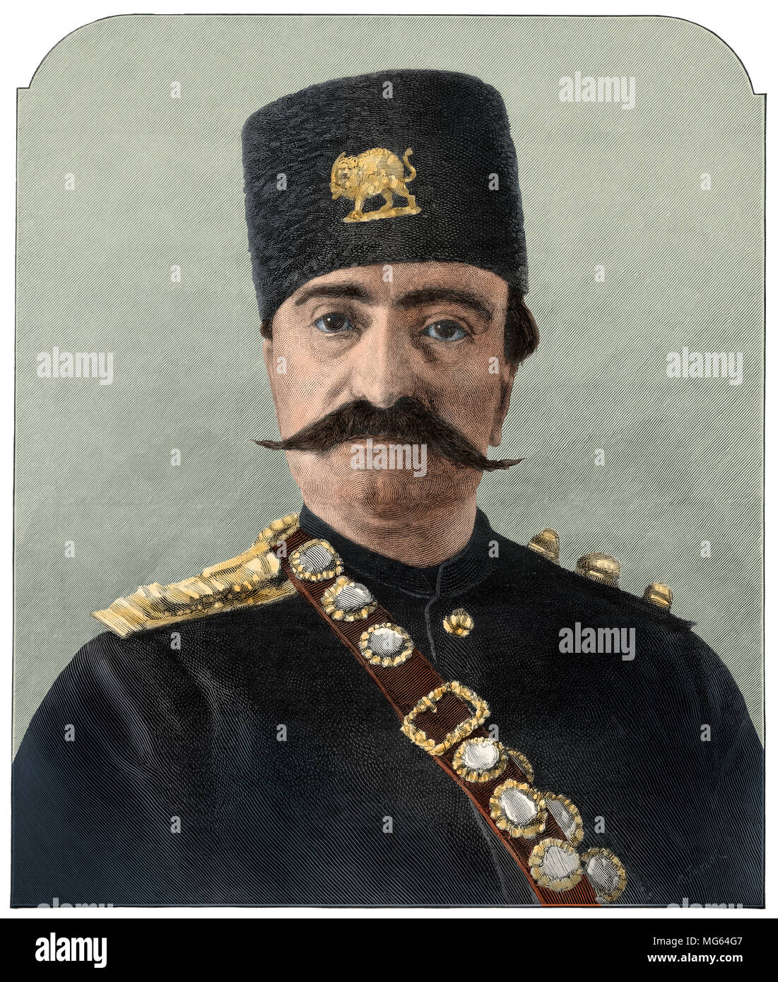 Naser al-Din, Shah of Iran, 1880s. Digitally colored woodcut of a photograph - Stock Image
