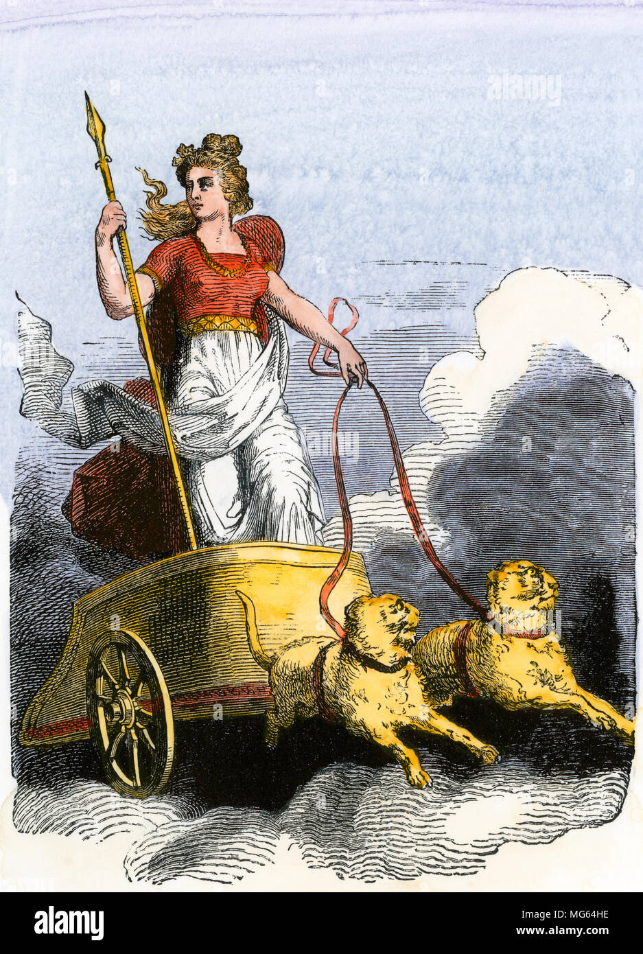 Norse deity Frigga, wife of Odin, driving a chariot. Hand-colored woodcut - Stock Image