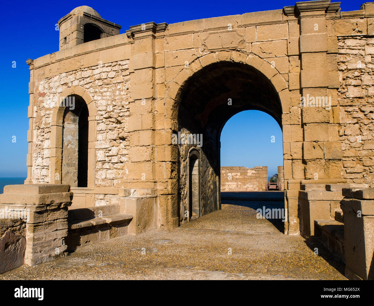 The bastion in the walled town of Essaouira, Morocco - Stock Image