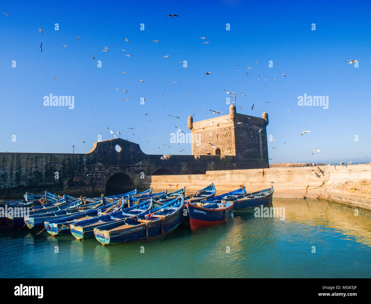 The bastion in the walled town of Essaouira, Morocco Stock Photo