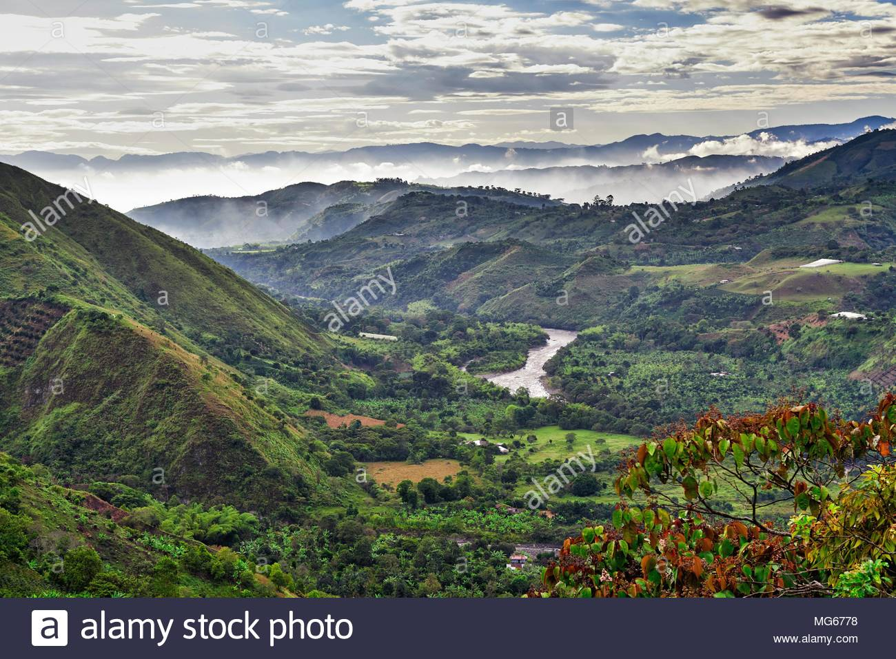 mountain landscape of Andes with Rio Magdalena - Stock Image