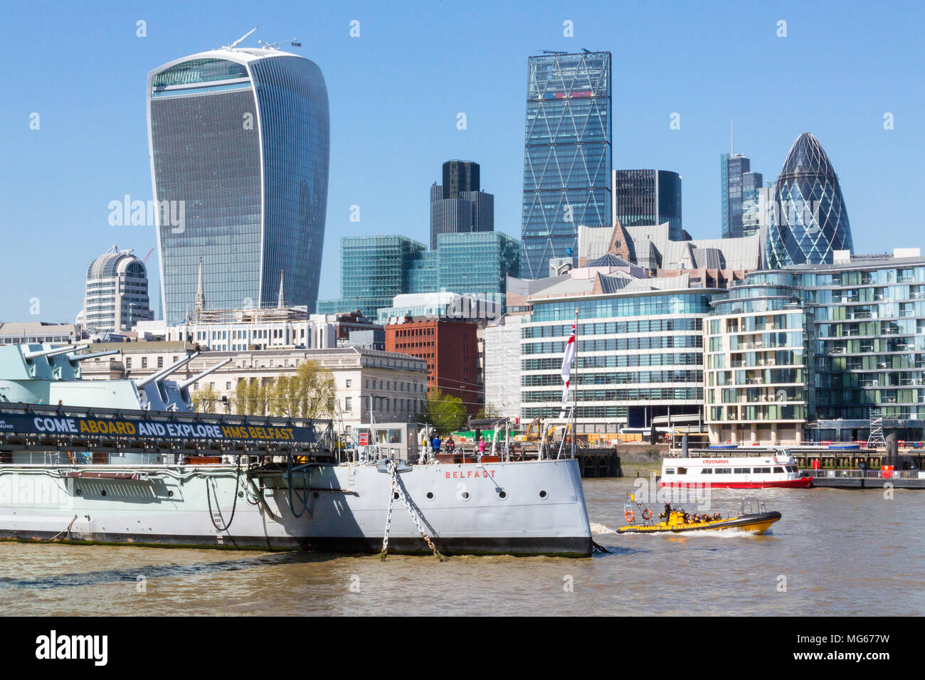 London, United Kingdom - April 23, 2015: A sunny spring day in  London from the Southbank you can see several of London's iconic buildings. Stock Photo