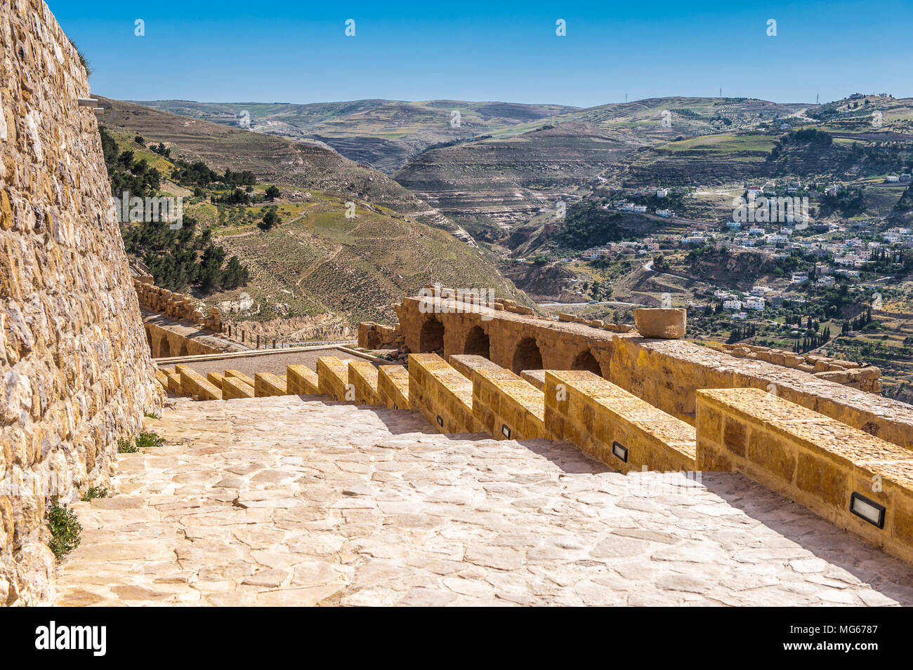 Lower court in the Kerak Castle, a large crusader castle in Kerak (Al Karak) in Jordan. Stock Photo