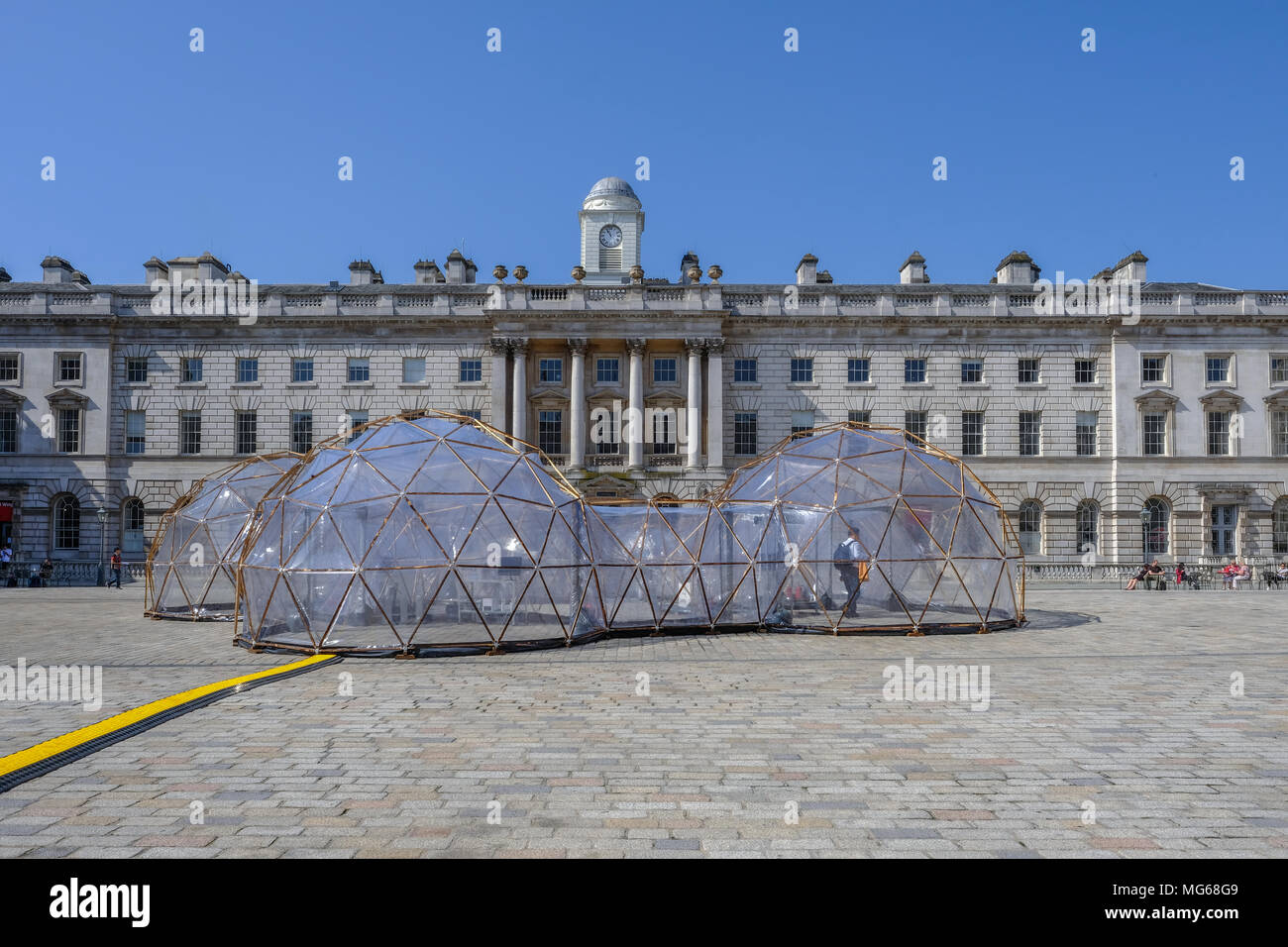 SOMERSET HOUSE, LONDON, UK - APRIL 22nd 2018: Pinksy  Pollution Pod exhibit in the centre of the square inside Somerset House. Stock Photo