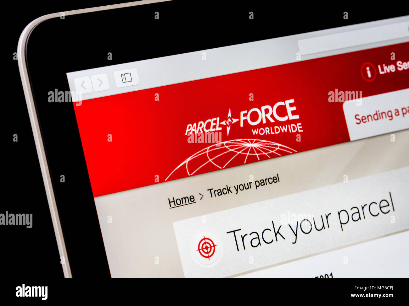 Tracking a delivery on the Parcel Force website - Stock Image
