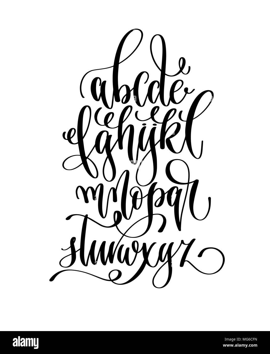 Hand Lettering Alphabet Design Black Ink Draw Poster