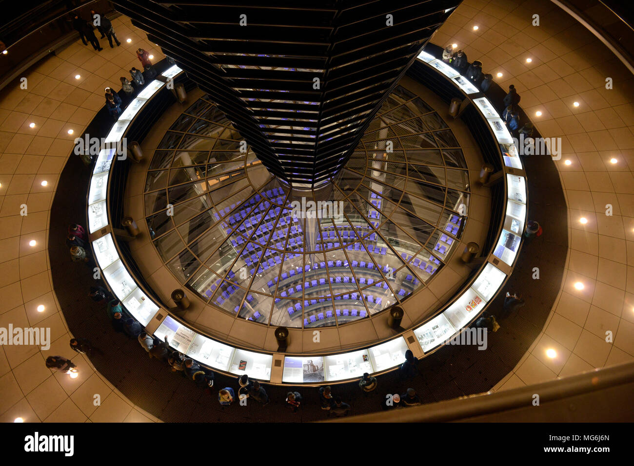 Modern glass dome structure at Reichstag Building, Berlin, at night by British architect Norman Foster - Stock Image
