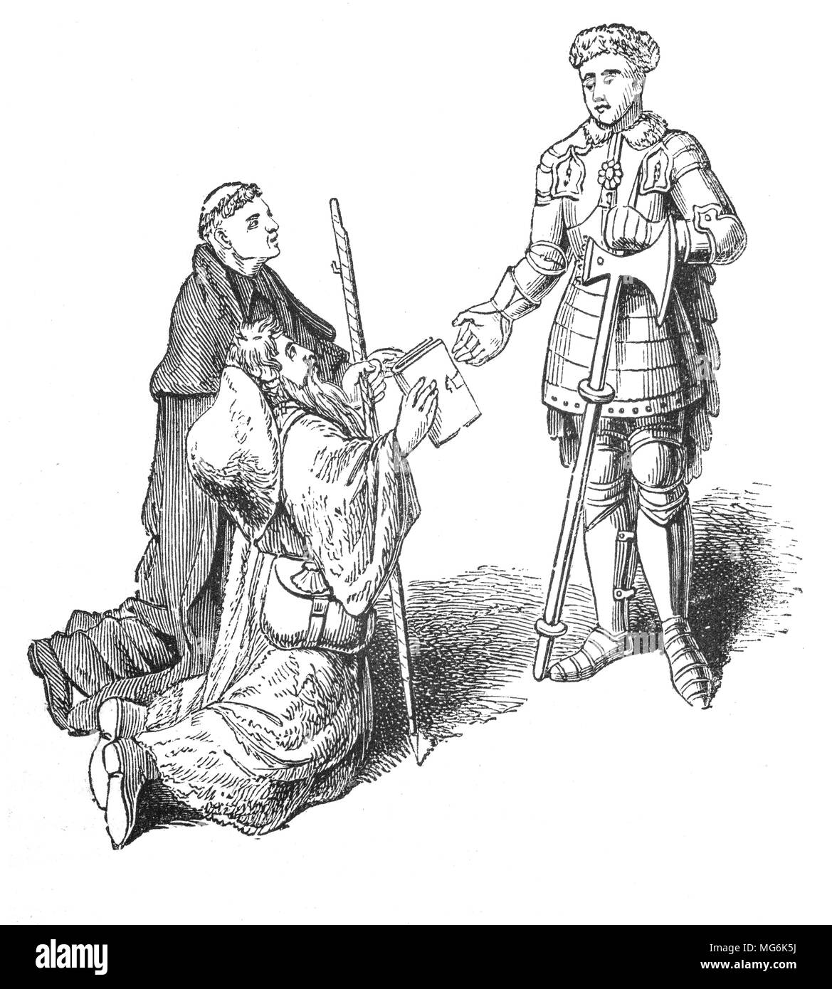 John Lydgate of Bury (1370 – 1451), monk and poet, presenting his poem, 'The Pilgrim' to Richard de Beauchamp, the 13th Earl of Warwick. He was born in Lidgate, near Haverhill, Suffolk, England. With a prodigious poetic output, he sought and obtained patronage for his literary work at the courts of Henry IV of England, Henry V of England and Henry VI of England. His patrons included, amongst many others, the mayor and aldermen of London, the chapter of St. Paul's Cathedral, Richard de Beauchamp. - Stock Image