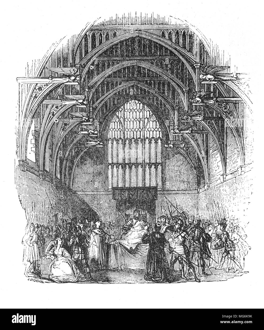 Signing of a treaty between King Henry VI and Richard of York, 3rd Duke of York, also known as Richard Plantagenet in Westminster Hall. Richard served in various offices of state in Ireland, France, and England - a country he ultimately governed as Lord Protector during the madness of King Henry VI.  His conflicts with Henry's wife, Margaret of Anjou, and other members of Henry's court, not to mention his competing claim on the throne, were a major cause of the Wars of the Roses. Stock Photo