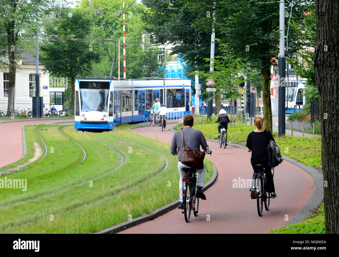 Tram in Amsterdam - Stock Image