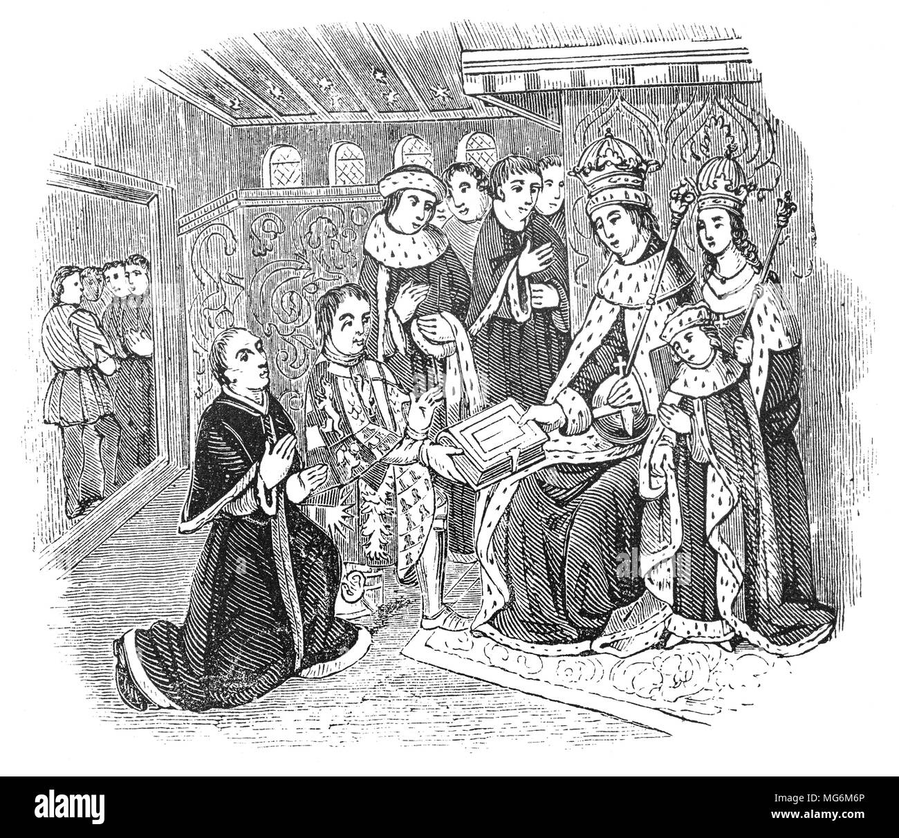 Richard Woodville, 1st Earl Rivers (1405 – 1469) an English nobleman, and the father of Queen consort Elizabeth Woodville, presenting  William Caxton (1422 – 1491) to King Edward IV. Caxton  was the English merchant,  writer and printer thought to be the first person to introduce a printing press into England, in 1476.  The first book known to have been produced there was an edition of Chaucer's The Canterbury Tales. He printed perhaps the earliest verses of the Bible to be printed in English, as well as chivalric romances, classical works and English and Roman histories. - Stock Image