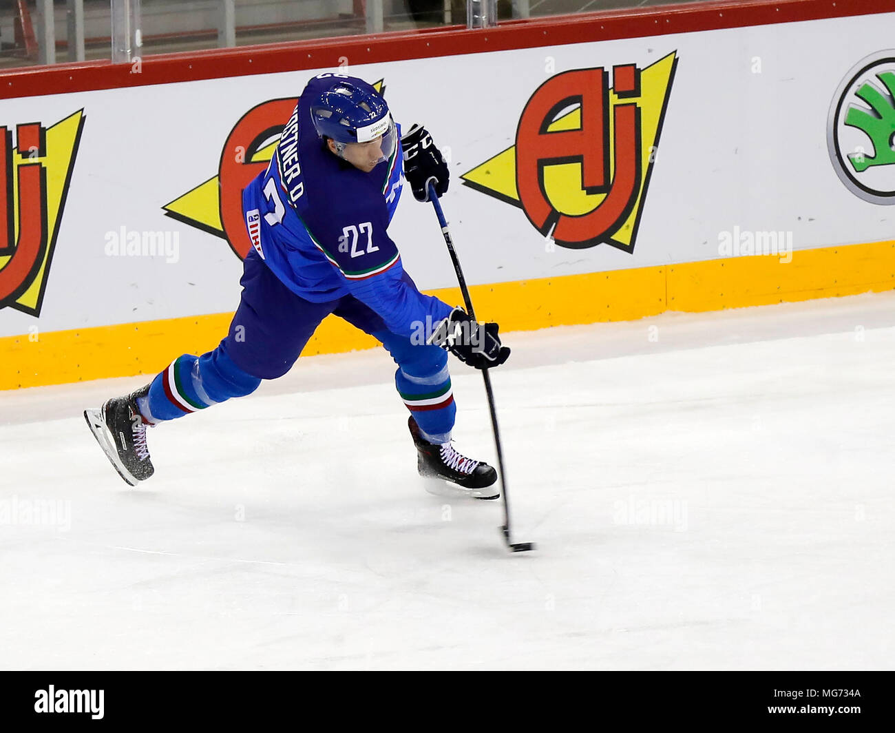 Budapest, Hungary, 27 April 2018.  Diego Kostner of Italy shoots on goal during the 2018 IIHF Ice Hockey World Championship Division I Group A match between Italy and Great Britain at Laszlo Papp Budapest Sports Arena on April 27, 2018 in Budapest, Hungary. Credit: Laszlo Szirtesi/Alamy Live News - Stock Image