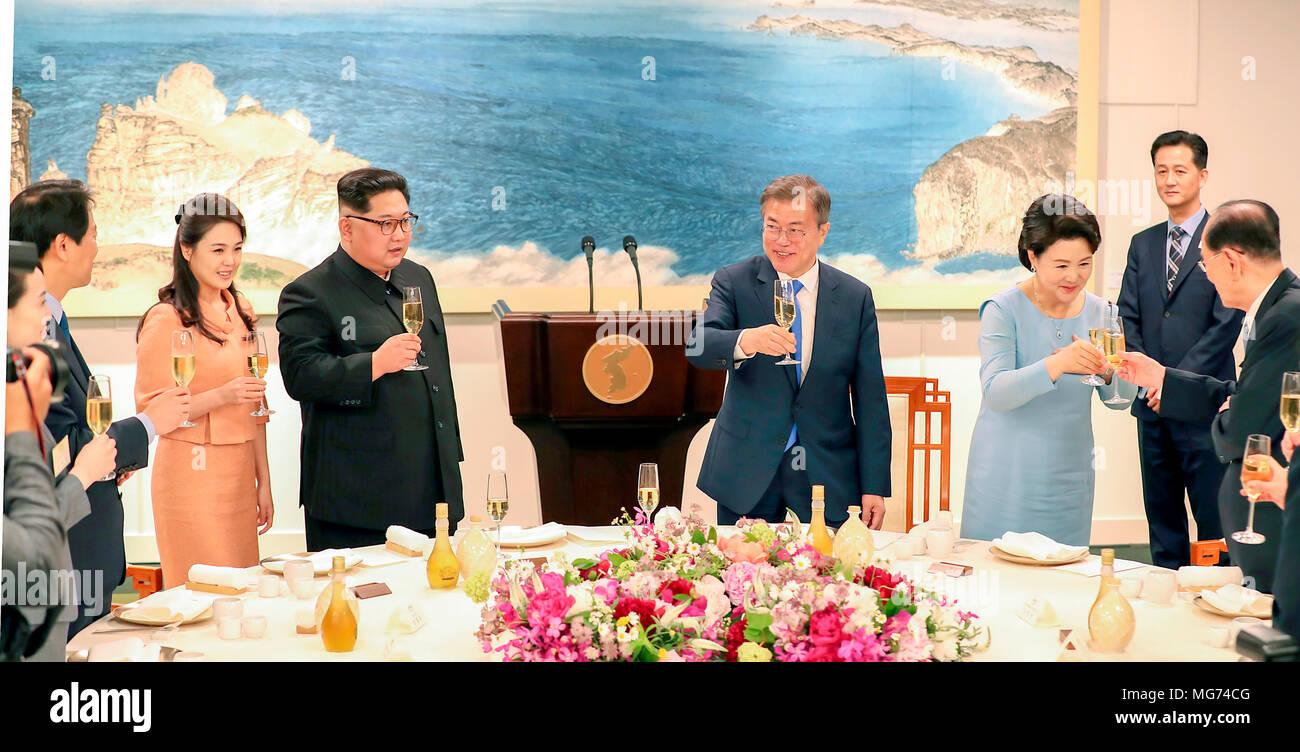 seoul south korea 27 april 2018 moon jae in kim jung sook kim