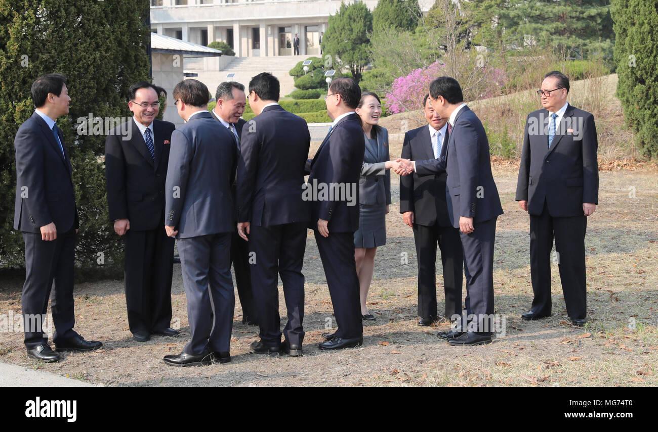 South koreas delegation leader stock photos south koreas seoul south korea 27 april 2018 delegation of two koreas apr 27 m4hsunfo