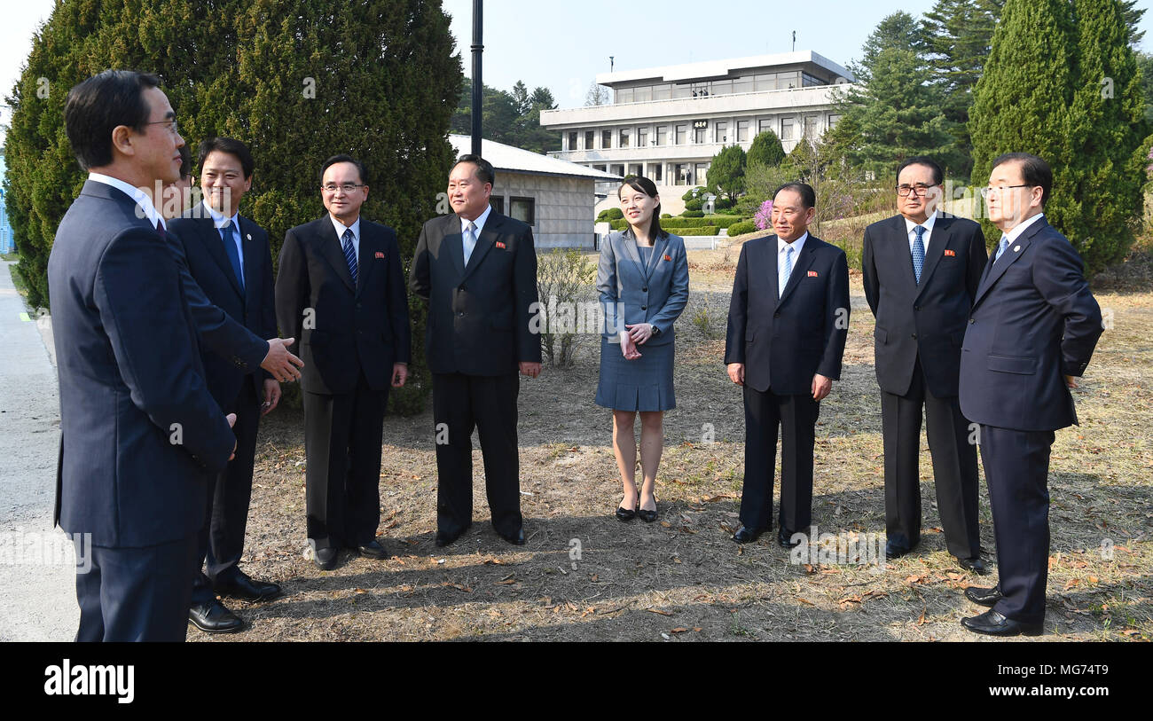 Seoul south korea 27 april 2018 delegation of two koreas apr 27 seoul south korea 27 april 2018 delegation of two koreas apr 27 2018 delegations from north and south korea greet each other while south korean m4hsunfo