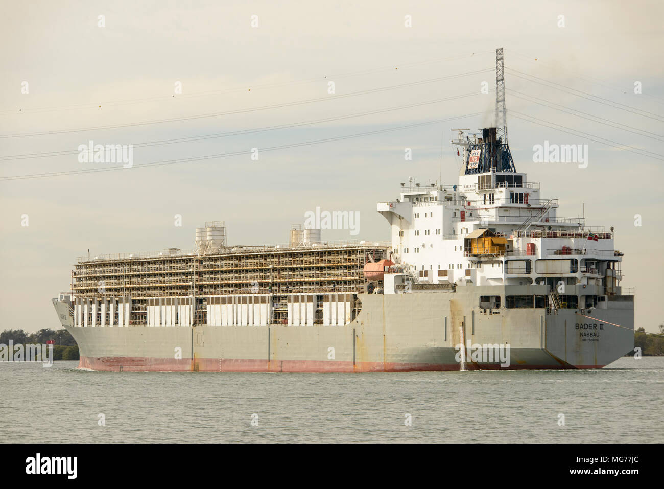 Port Adelaide, Australia 28th April 2018. The controversial Livestock Carrier Bader III leaves Adelaide for Fremantle loaded with sheep and cattle after rowdy animal welfare protests over cruelty claims. Sheep can be seen free on the decks. Ray Warren/Alamy Live News Stock Photo