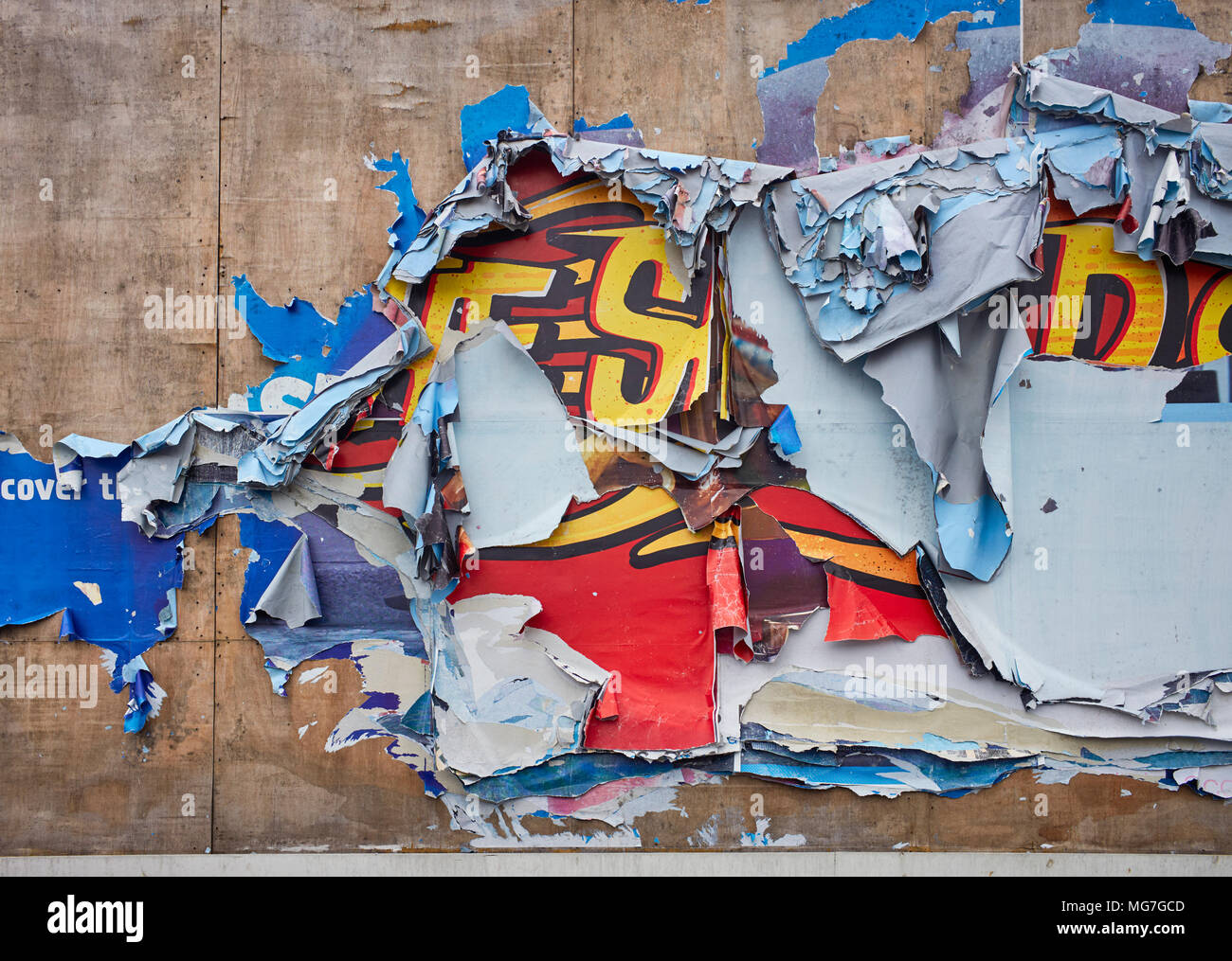 A 48 sheet poster site with multiple posters ripped off by the rain and wind after storms - Stock Image