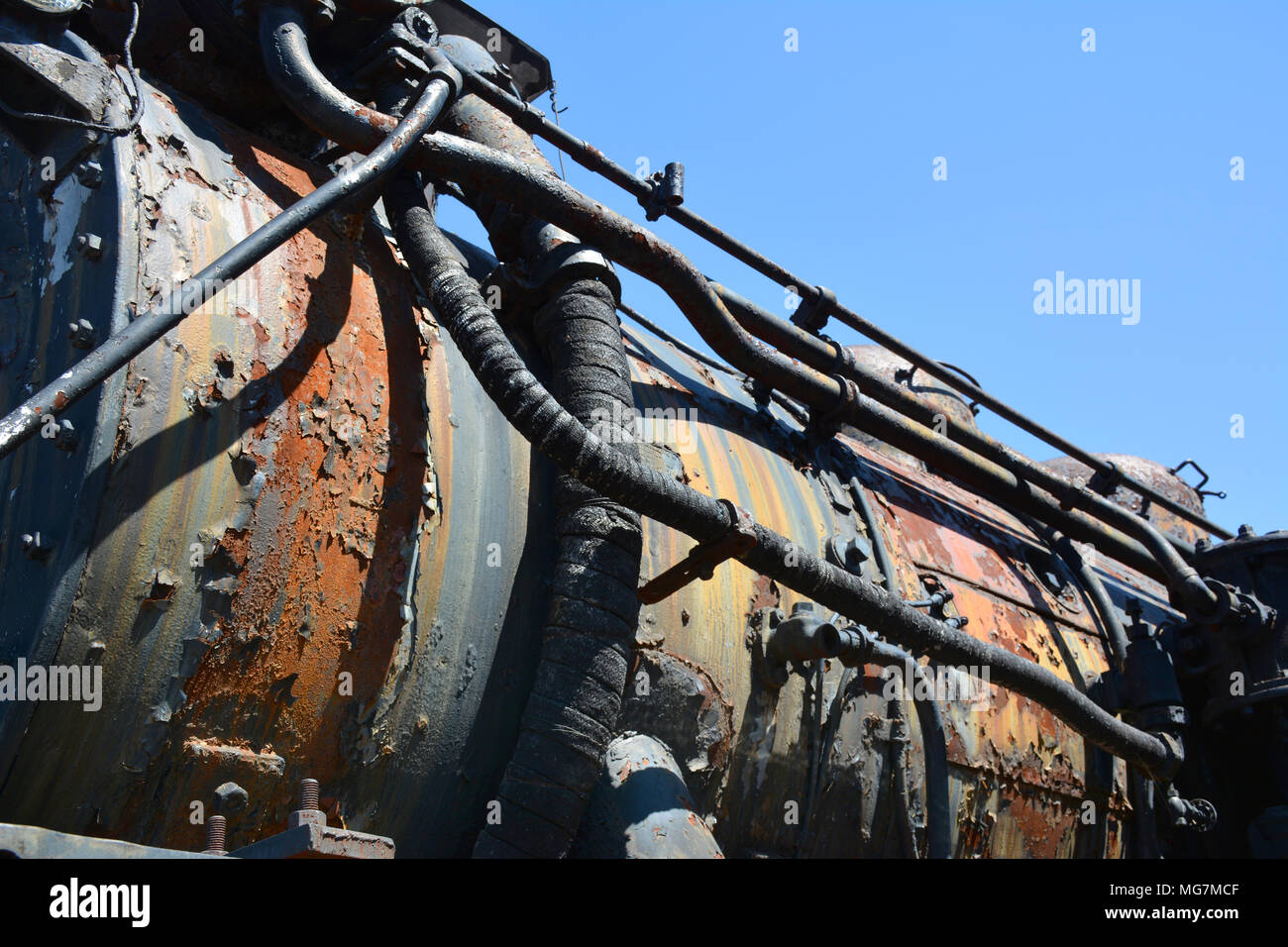 Detail of unrestored locomotive located at Steamtown National Historic Site located on 62.48 acres in downtownScranton, Pennsylvania Stock Photo