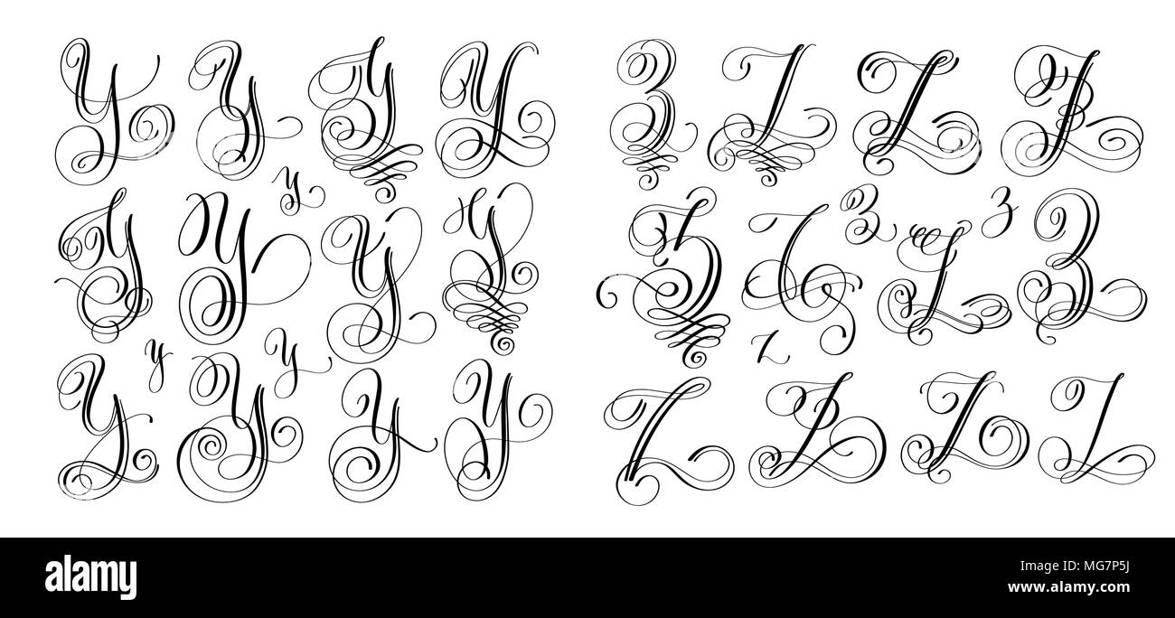 Calligraphy Letters Set Y And Z Script Font