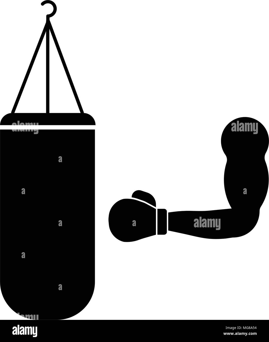 Hand and punching bag, isolated on white background - Stock Vector