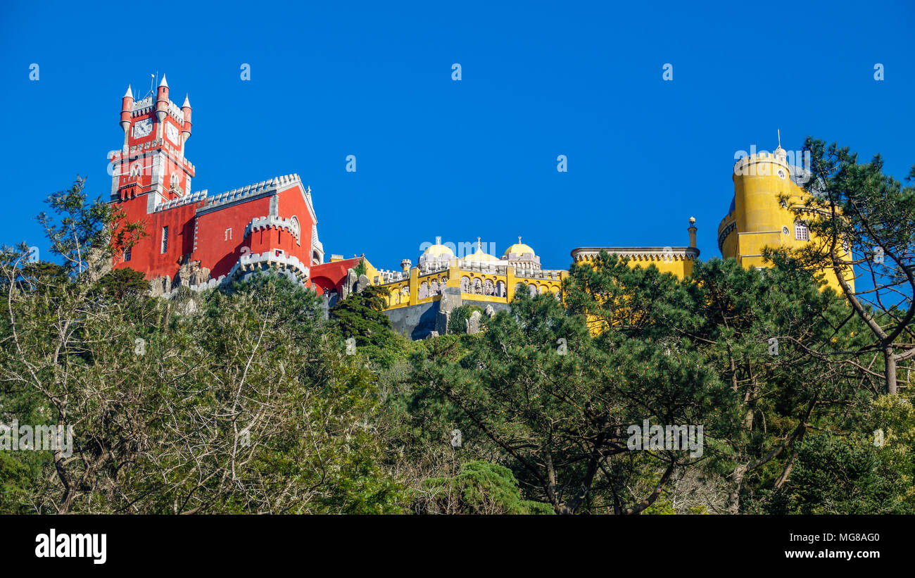 Palace da Pena over hill worms eye view. Sintra, Lisbon. Portugal - Stock Image