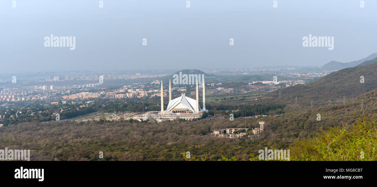 Aerial view of Islamabad city and Faisal mosque in the