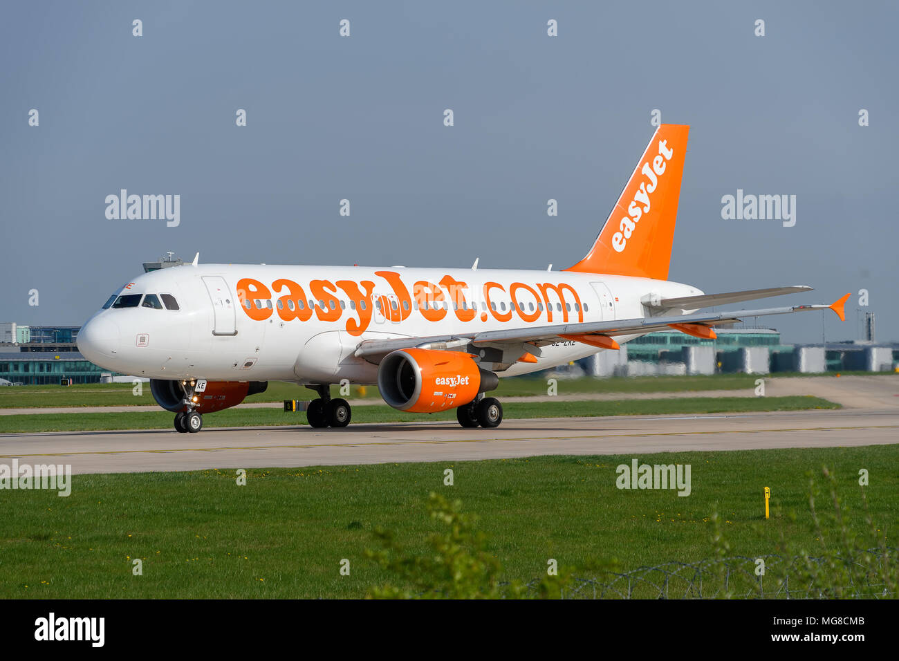MANCHESTER, UNITED KINGDOM - APRIL 21st, 2018:  Easyjet A319 ready to depart at Manchester Airport - Stock Image
