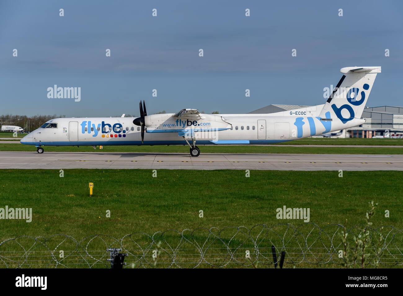 MANCHESTER, UNITED KINGDOM - APRIL 21st, 2018: Flybe Embraer ready to depart at Manchester Airport - Stock Image