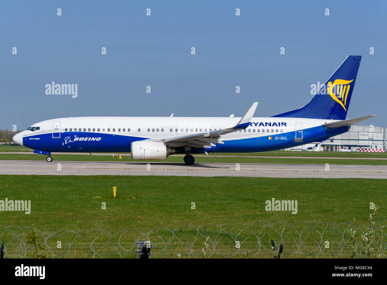 MANCHESTER, UNITED KINGDOM - APRIL 21st, 2018:  Ryanair Boeing 737 in dreamliner livery ready to depart at Manchester Airport - Stock Image