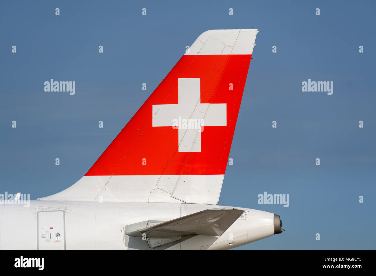 MANCHESTER, UNITED KINGDOM - APRIL 21st, 2018: Swiss Airllines livery Tail at Manchester Airport - Stock Image