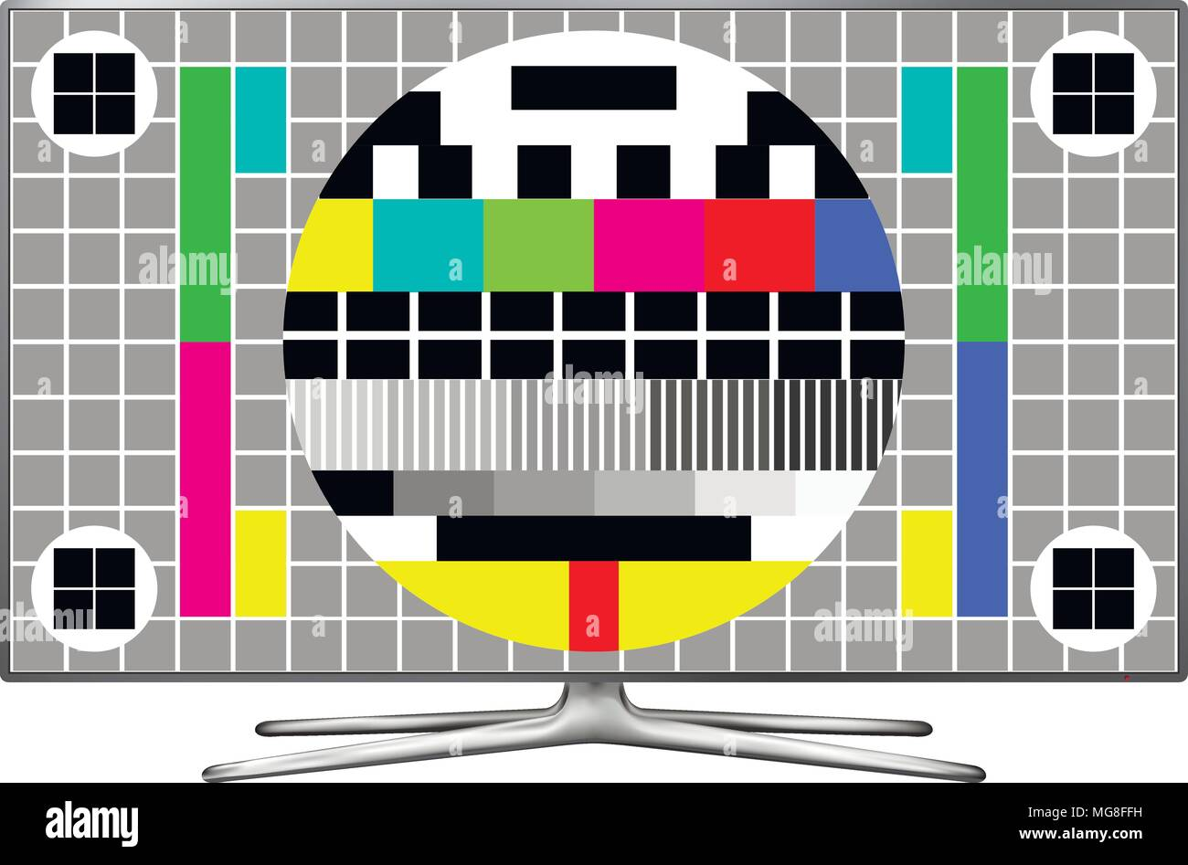Test screen on modern LCD television. Vector illustration. - Stock Image
